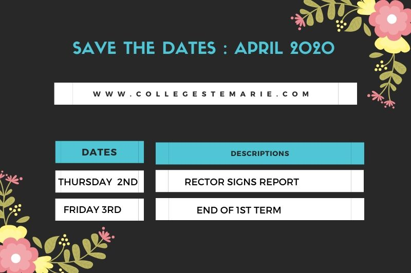 Save the dates for April 2020